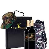 Caja Regalo Vino - Pack de 2 Botellas de Crianza + Regalo Al Mejor Cazador + Kit con Gorra y Mochila de Camuflaje para Caza - D.Origen Olite Navarra - Ideal para regalar