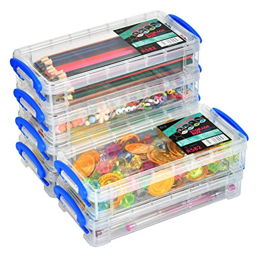 6 Pack Large Capacity Pencil Box, Stackable Clear Plastic Pencil Box, Office Supplies Storage Organizer Box, Brush Painting Pencils Storage Box Watercolor Pen Container, 8.15' x 1.65' x 4' - Blue