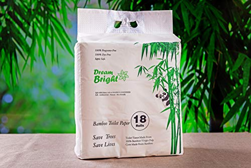 Dream Bright Extra Soft 100% Virgin Bamboo Pulp Toilet Paper 250 X 3-ply Sheets Per Roll (18 Rolls), Eco-Friendly, Septic Safe, Chlorine Bleach Free (18 Rolls)