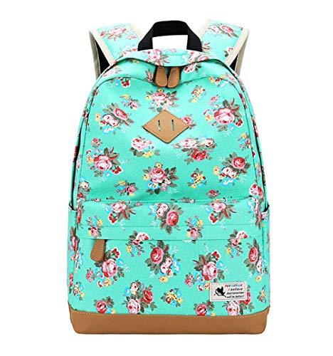 DNFC Canvas Schulrucksack Mädchen Rucksack Fashion Schulranzen Teenager Schultaschen Blumen Freizeitrucksack Kinderrucksack Mode Damen Daypack Backpack (Grün)