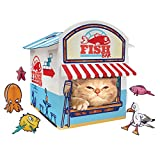 Suck UK Cat Play House | Novelty Cat Kiosk Playhouse | Cat Toy & Accessories | Flat Packed & Easy to Assemble, Blue/White/Red One Size
