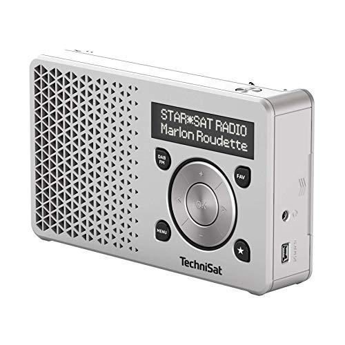 TechniSat DIGITRADIO 1 - tragbares DAB+ Radio mit Akku (DAB, UKW, FM, Lautsprecher, Kopfhörer-Anschluss, Favoritenspeicher, OLED-Display, klein, 1 Watt RMS) silber