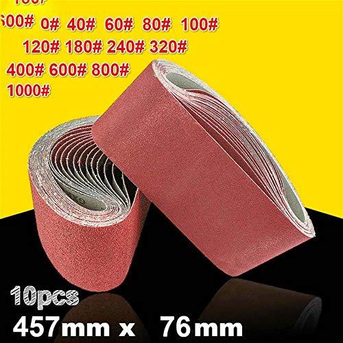 10Pcs 76 * 457mm Correas abrasivas de lijado 40-1000 Granos Bandas abrasivas para herramientas eléctricas de lijadora, 10pcs 1000 Granos
