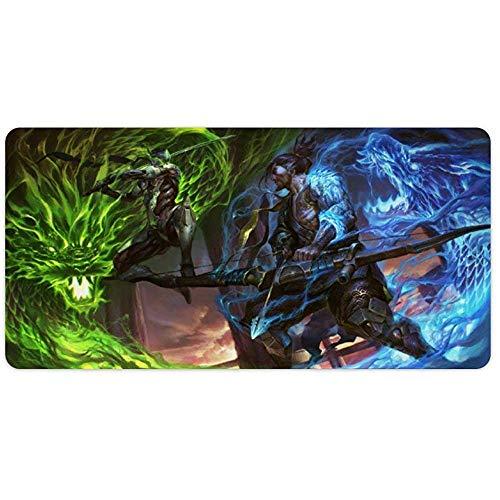 Overwatchs Mauspad Hanzo Genji Dragons Overwatchs, Extended Gaming Mouse Pad, große Schreibtischmatte, wasserdichte, rutschfeste, rutschfeste, genähte Mousepads für Computerschwarz 31,5 x 11,8 Zoll