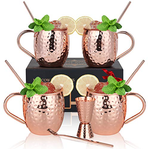 Copper Moscow Mule Mugs Set of 4, Eternal Moment Hand Hammered Copper Mugs 16 oz with BONUS: Copper Straws, Stirring Spoon, Shot Glass and Gift Box for Beer, Cocktail, Bar Set