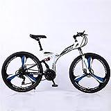 ZHTX Montagne Vélo Route Vélo de Course Vélo Pliable vélo 26 Pouces en Acier 21/24/27/30 Speed Bicycles Freins à Disque Double (Color : White, Size : Three Cutter Wheels)
