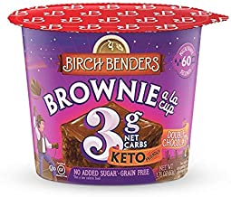 product image for Double Chocolate Brownie Cups by Birch Benders, Grain-Free, Gluten-Free, Keto friendly, only 3 Net Carbs, Just Add Water (8 Single Serve Cups)