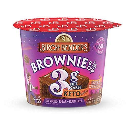 Double Chocolate Brownie Mug Cake Cups by Birch Benders, Keto Dessert, Grain-Free, Gluten-Free, only 3 Net Carbs (8 Single Serve Cups)
