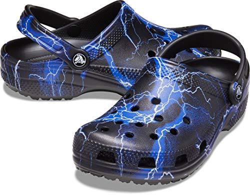 Crocs Men's and Women's Seasonal Graphic Classic Clog   Comfortable Water Shoes Black Size: 7 Women/5 Men