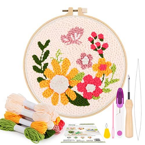 Pllieay Les Kits de Broderie comprennent des Instructions, Une Aiguille de poinçonnage en Tissu avec Motif Floral, des Fils, des cerceaux de Broderie, des Outils d'enfile-Aiguille pour Aiguille