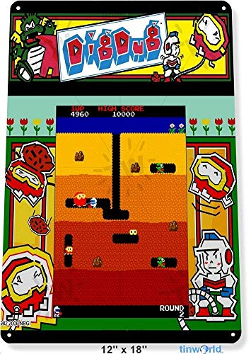 GNKJYY-T Personalized Tin Firmar Metal Firmars Wall Decor TIN Dig-Dug Arcade Shop Game Room Art Marquee Console 12' x 16'