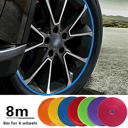 N\A 8M / Roll Rim Blades Coche Vehículo Color Rueda Remolque Protectores Decoración Tira Neumático Línea Línea Línea de Neumático de Neumático de Caucho Tiras de Ajuste Interior de automóviles