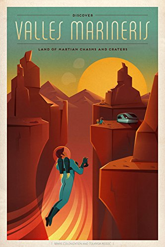 Spiffing Prints SpaceX Mars Tourism Poster for Valles Marineris - Large - Matte Print