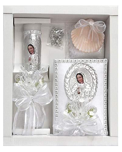 SWEA Pea & Lilli White Virgin Mary Baptism Candle Set Kit for Christenings with Shell and Favors - Spanish