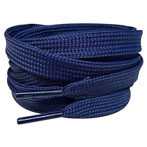 Cordones planos de 120 cm/47 'Smart Laces cordones de zapatos ideales de repuesto para Air Jordans Botas cordones de zapatos, Navy,