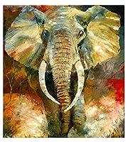 大人と子供のための数字によるデジタル絵画象動物パターンペイントDIY油絵ギフトキット事前印刷