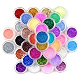 qingqingR 45 Colores Nail Art Glitter Macetas de Polvo Brillante Set Lentejuelas Brillantes Holográficas Láser Pigmento Polvo Manicura DIY Dedos Belleza Decoración
