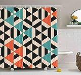 N\A Duschvorhang,Duschvorhang Bunter Duschvorhang Abstraktes Muster Geometrischer Hintergr& Triangeles Bad Duschvorhang Wasserdichtes Dekor Badezimmer Set mit Haken