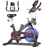 HEKA Cyclette Casa Bicicletta per Allenamento con Volano 15KG, Professionale Cyclette per Casa, Spinning Bike Indoor, Bici Resistenza Regolabile con Display LCD e APP, Peso Massimo 150KG