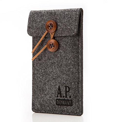 Motorize A.P. Donovan - Filz-Tasche Filzhülle - Schutzhülle - Handy-Socke aus Filz - Hülle Tasche aus Stoff Sleeve - Handy-Tasche - Grau, iPhone 5 / 5s