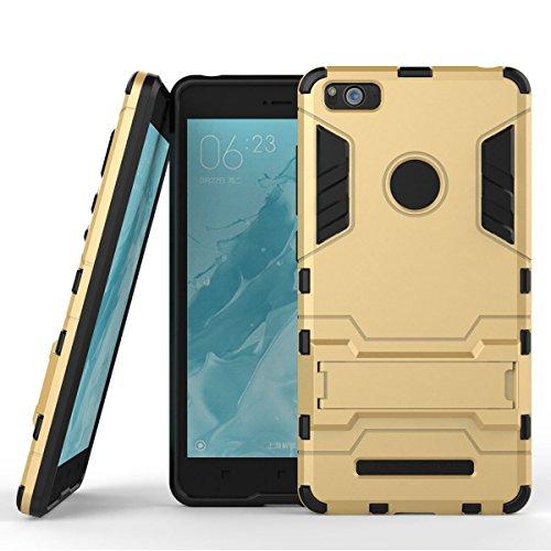 Funda para Xiaomi Mi 4i / Mi 4C (5 Pulgadas) 2 en 1 Híbrida Rugged Armor Case Choque Absorción Protección Dual Layer Bumper Carcasa con Pata de Cabra (Dorado)