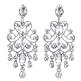 BriLove Wedding Bridal Dangle Earrings for Women Vintage Style Crystal Drop Hollow Filigree Chandelier Dangle Earrings Clear Silver-Tone