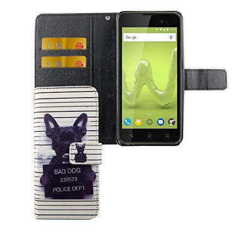 König Design Handyhülle Kompatibel mit Wiko Sunny 2 Plus Handytasche Schutzhülle Tasche Flip Hülle mit Kreditkartenfächern - Bulldogge Weiß