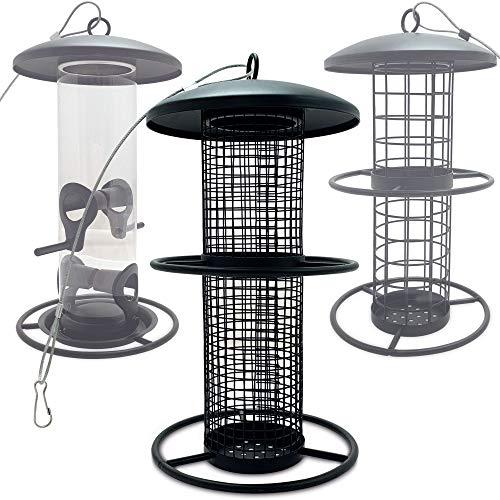 zooprinz Premium XL Vogelfutterspender mit stabilen Sitzringen und Schutzdach für Wildvögel – witterungsbeständig und langlebig – Meisenknödelhalter