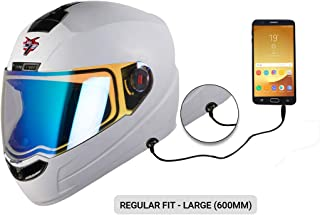 Steelbird SBA-1 7Wings HF Dashing Full Face Helmet with Detachable Handsfree Device (Large 600 MM, Regular Fit, White with Night Vision Blue Visor)