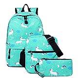 3 In 1 Backpack Set,con Bandolera Y Clutch, para Ordenador PortáTil De hasta 15.6 Pulgadas,Mochila Unisex Impermeable,para Los Estudios, Viajes O Trabajo,Light-Green