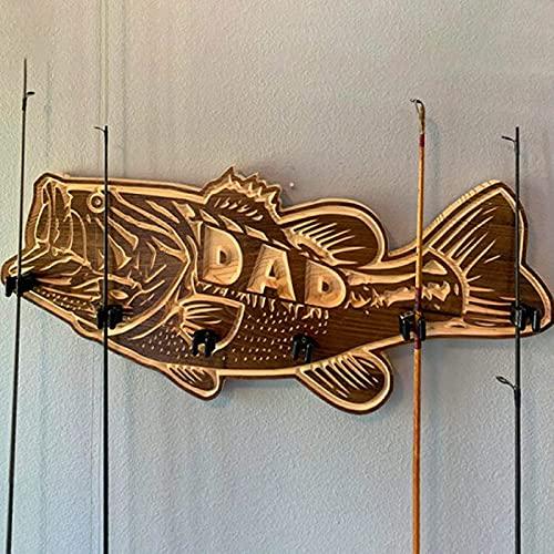 woyada Soporte de madera para caña de pescar con boca grande, caña de pescar para almacenamiento de pared, equipo de pesca y regalos de pesca para papá 1/2 unids