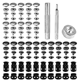 288Pcs Set Leather Snap Fasteners Kit, 15mm Metal Button Snaps Press Studs with 3 Setter Tools, 2 Color Leather Snaps for Clothes, Jackets, Jeans Wears, Bracelets, Bags