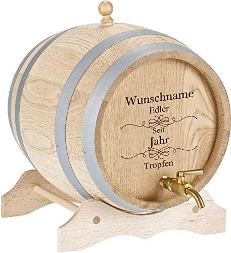 elasto Personalisiertes Holzfass mit Gravur 2 Liter Whiskyfass mit Gravur und Zapfhahn aus Messing Massives Eichenfass Schnapsfass mit Namen als Geschenk zum Geburtstag, Weihnachten (Motiv 3)