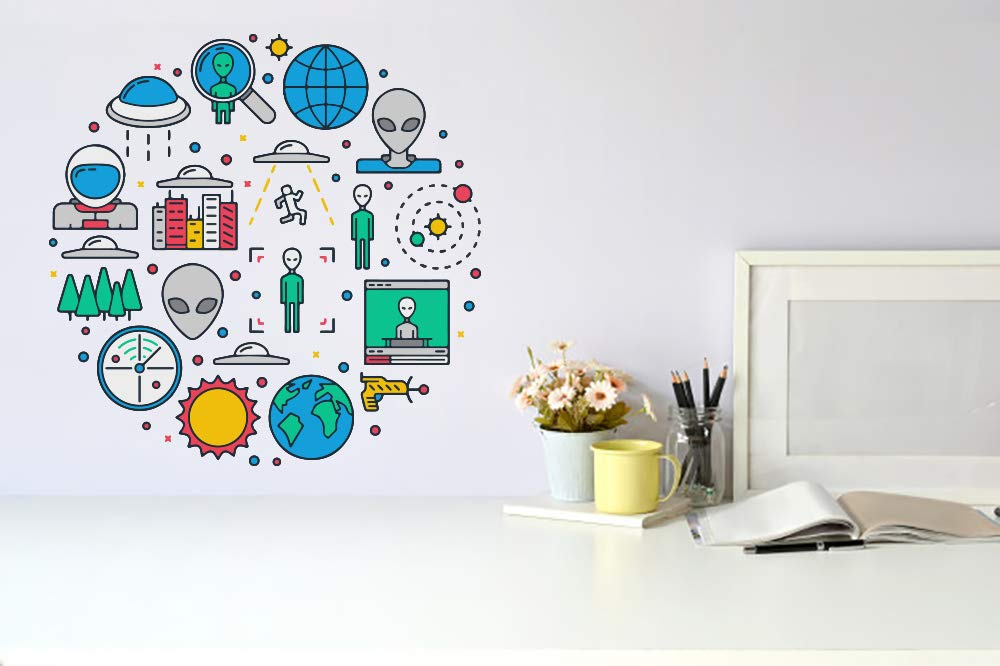 UFO Alien Space Icons Wall Vinyl Car Decal Art Lowest price challenge free Sticker Mural Dec
