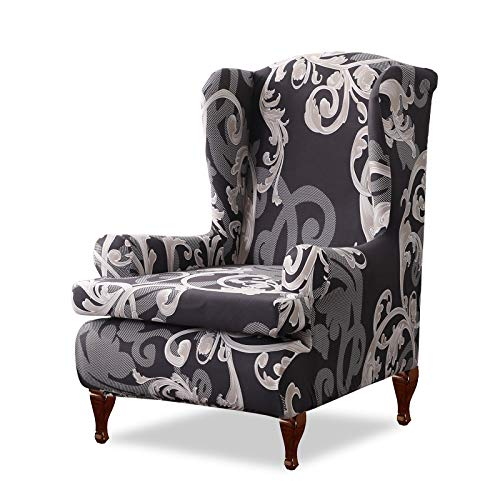 VanderHOME Ohrensessel husse ohrensessel bezug Stretch sesselhussen Sessel bezug husse für ohrensessel Schwarze Welle