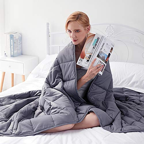 """GSLE Weighted Blanket (Grey, 48""""x72"""" Twin Size 12 lbs), Hypoallergenic Cozy Heavy Blanket - Say Goodbye to Restlessness, Usher in a Era of Peace and Fresh Sleep"""