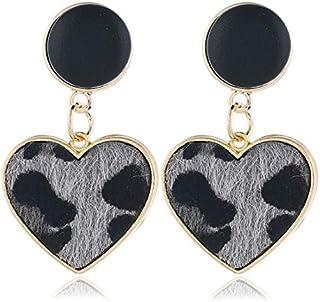 Earrings Imitation Velvet Heart Geometric Leopard Drop Earrings For Women(white) Earrings (Color : Grey)