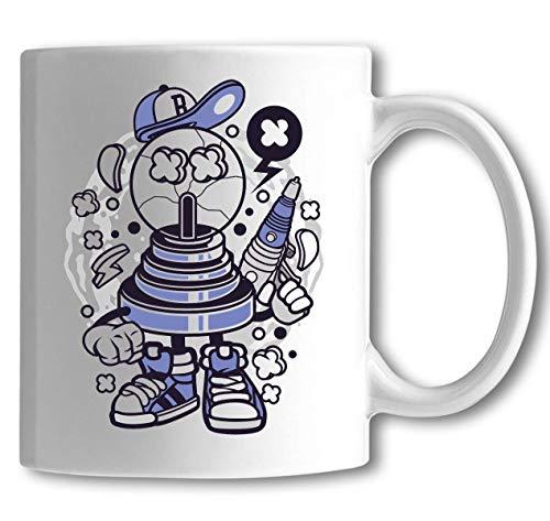 Fortune Ball Laser Pistol Urban Cartoon Art White Ceramic Tea Coffee Mug