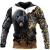 Chiclook Cool Hunting Camo Hoodies Sweatshirt Fashion Pullover Streetwear, Bear Hunting, L