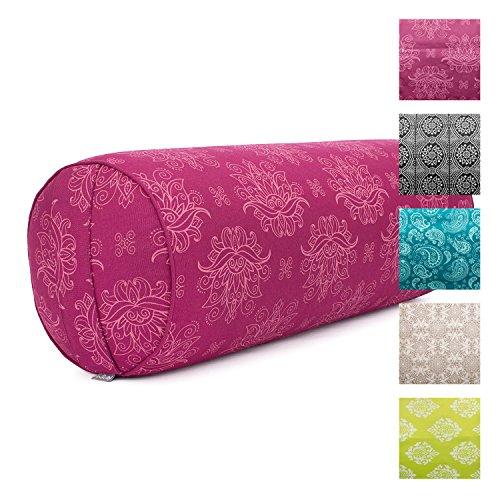 """Yoga-Bolster""""Lotus"""", berry, Maharaja Collection, Dinkel-Füllung, Bezug aus 100% Baumwolle (Köper), abnehmbar, 65 cm, 23 cm Durchmesser"""