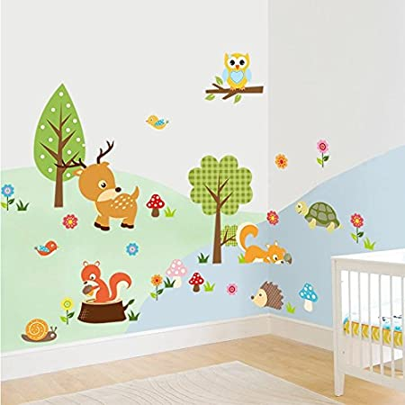 Jungle Wild Forest Tree Animals Wall Stickers Kids Room Decor Home Wall Decal