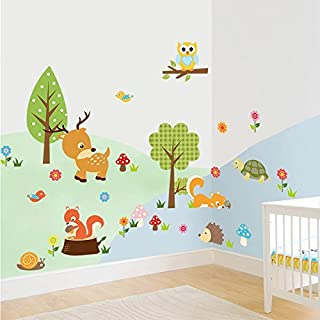 Amaonm Cute Cartoon Natural Wildlife Wall Decals Forest Animals Wall Stickers Murals Owls, Deer, Fox Peel & Stick for Baby Children's Playroom Removable DIY Arts Crafts Decor for Nursery Room