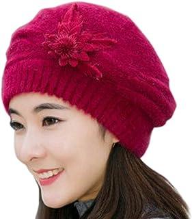 Sunshinehomely Fashion Womens Flower Knit Crochet Beanie Hat Winter Warm Cap  Beret 07e47ba129c0