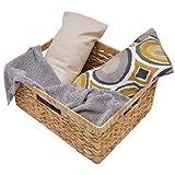 StorageWorks Jumbo Rectangular Wicker Basket, Water Hyacinth Storage Basket with Built-in Handles,...