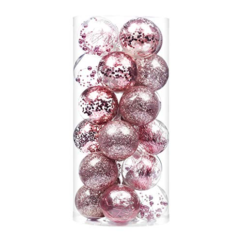 24ct Christmas Ball Ornaments Shatterproof Large Clear Plastic Hanging Ball Decorative with Stuffed Delicate Decorations (70mm/2.76' Rose Gold)