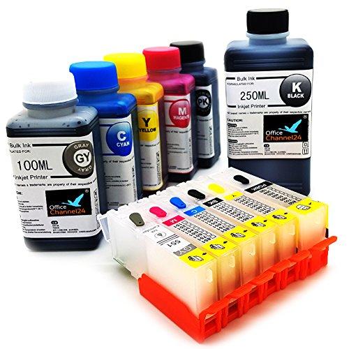 6 leere wiederbefüllbare Druckerpatronen inklusive grau kompatibel für PGI 550 CLI 551 für Canon Pixma IP8750 MG6350 MG7150 MG7550 PGI-550BK , CLI-551C , CLI-551M , CLI-551Y , CLI-551PBK und CLI-551GY Klein CISS ((2) 1 Satz plus 750ml Nachfülltinte und Refill Werkzeuge)