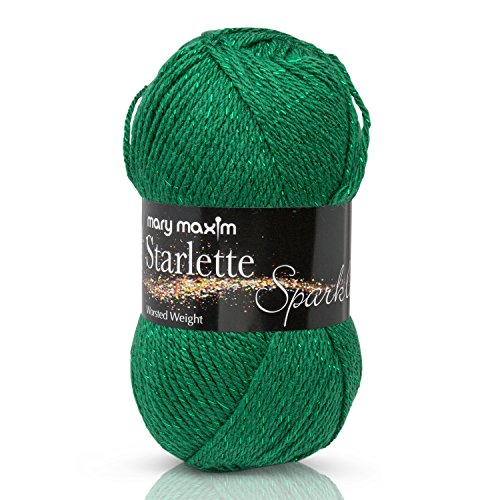 """Mary Maxim Starlette Sparkle Yarn """"Emerald"""" 