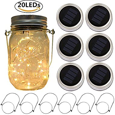 6-Pack Solar-powered Mason Jar Lights 20 LEDs (6 Hanger Included / No Jar),Warm White Glass Waterproof Fairy Hanging Lighting,Outdoor String Lids for Regular Mouth Jars for Patio Lamp Decor