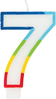 Unique Party 19947 Rainbow Border Number 7 Birthday Candle