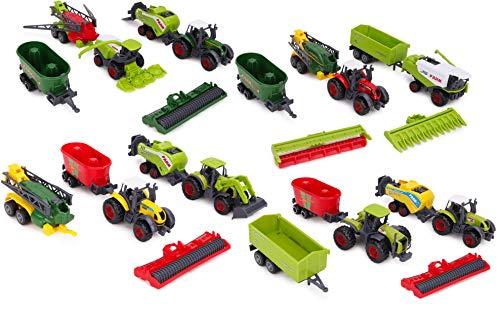 TOYLAND® Paquete de 6 Juegos de Tractores e implementos agr